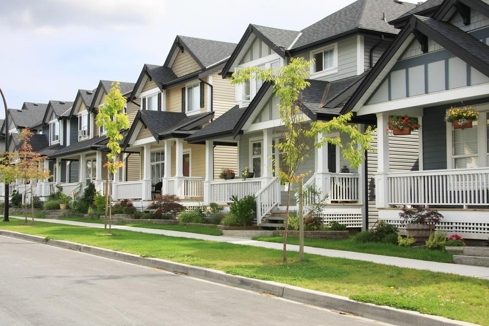 Friendly neighborhood of townhouses.