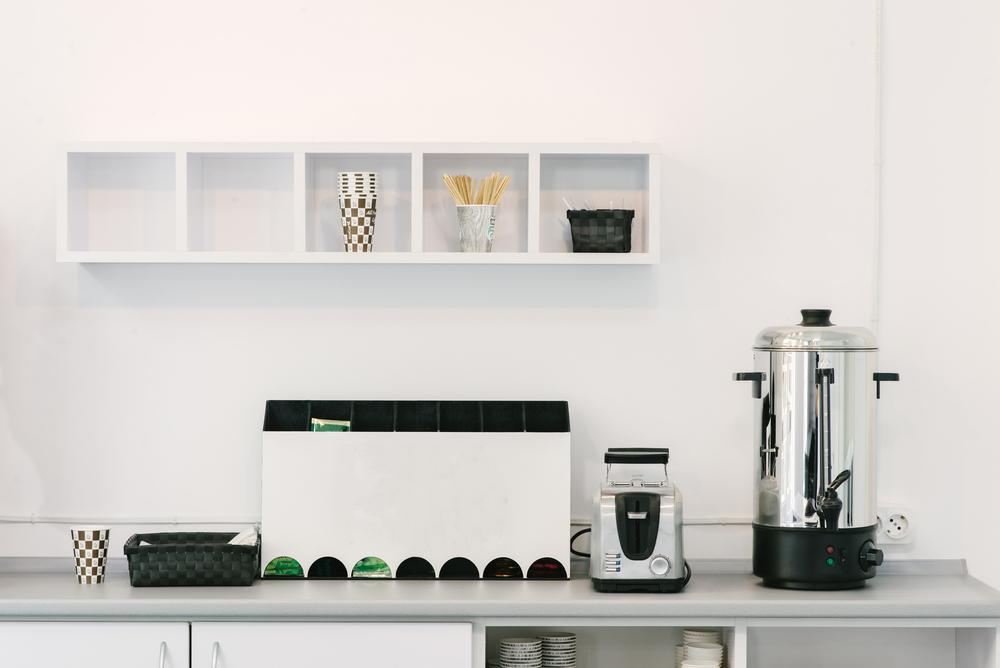 Modern luxury hi-tek black and white kitchen, clean interior design